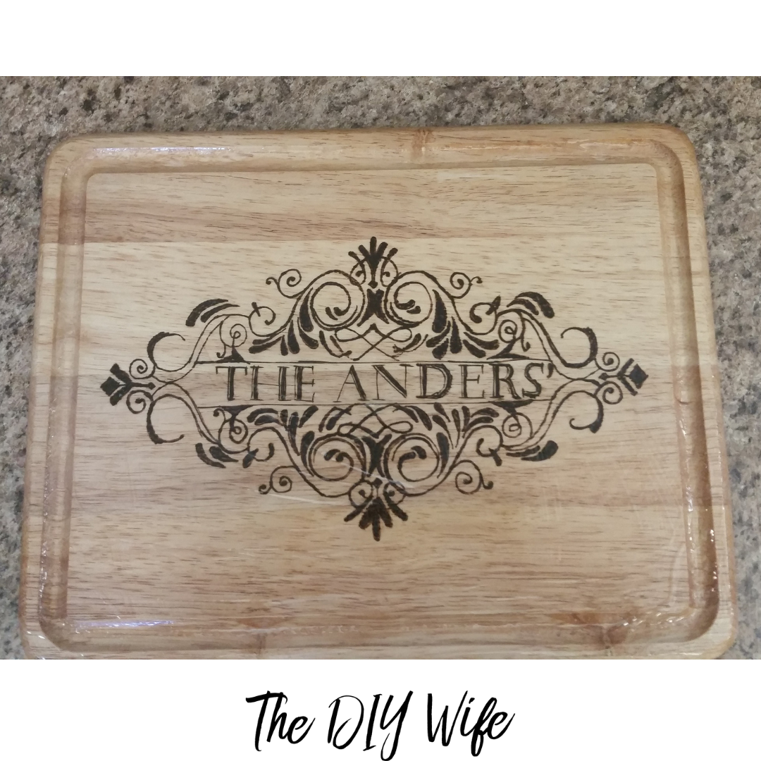 DIY Personalized Cutting Board Last Name. The DIY Wife