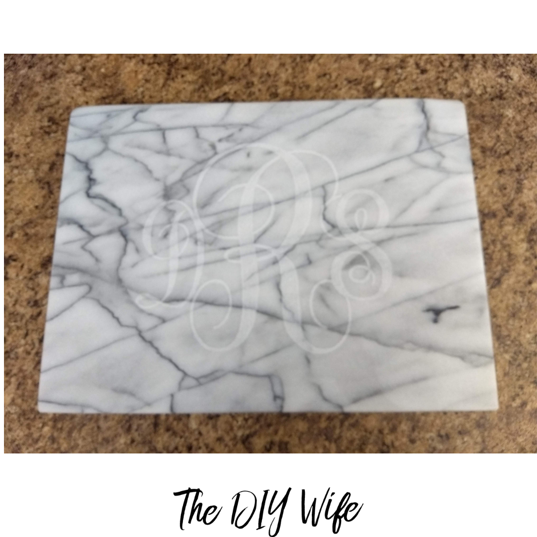DIY Personalized Marble Cheese Plate Gift. The DIY Wife
